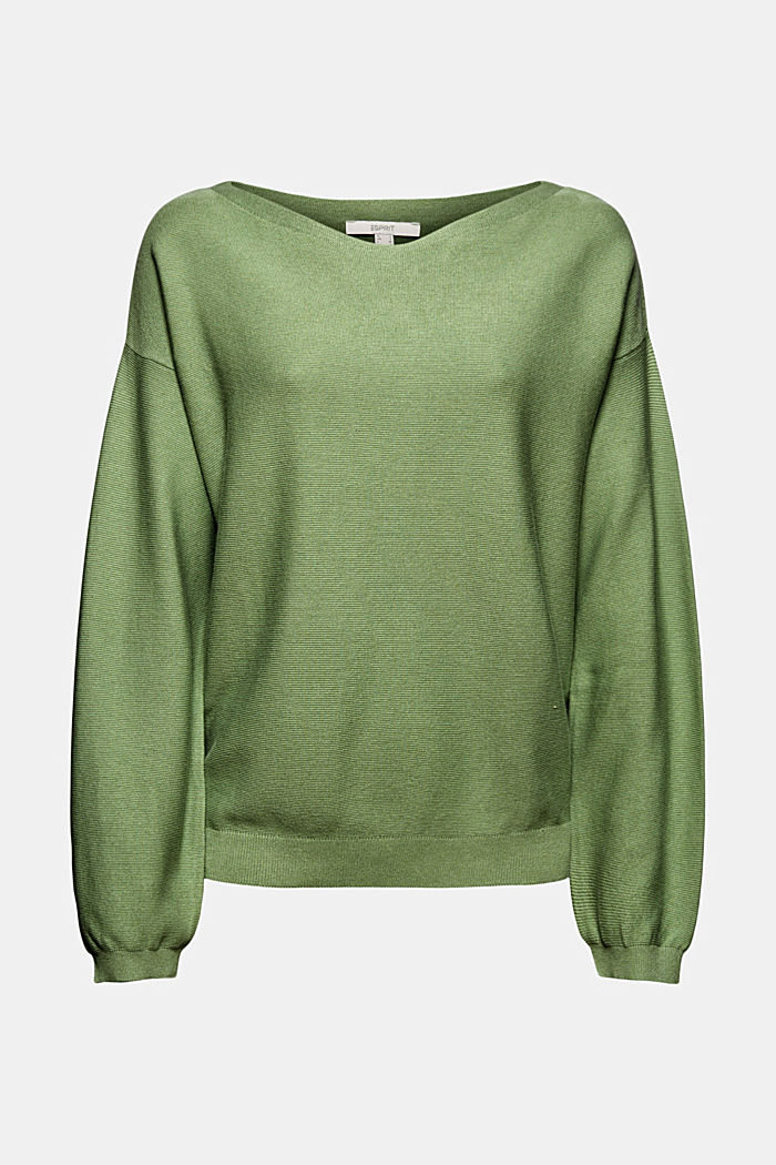 Bateau neckline jumper made of organic cotton, LEAF GREEN, overview