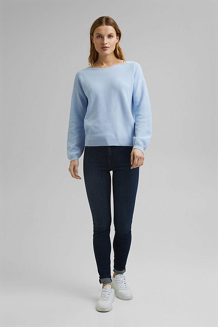 Bateau neckline jumper made of organic cotton, PASTEL BLUE, detail image number 5