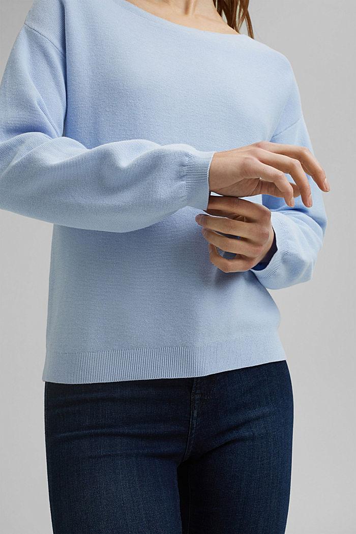 Bateau neckline jumper made of organic cotton, PASTEL BLUE, detail image number 2