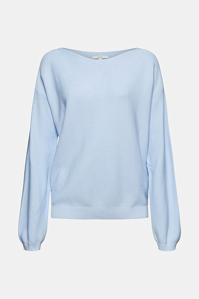 Bateau neckline jumper made of organic cotton, PASTEL BLUE, overview