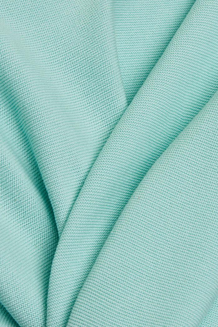 Jersey con cuello barco en algodón ecológico, LIGHT TURQUOISE, detail image number 4
