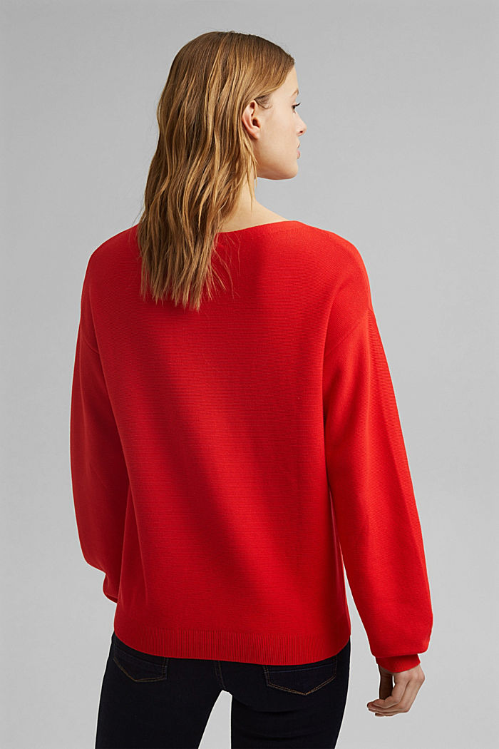 Bateau neckline jumper made of organic cotton, RED, detail image number 3