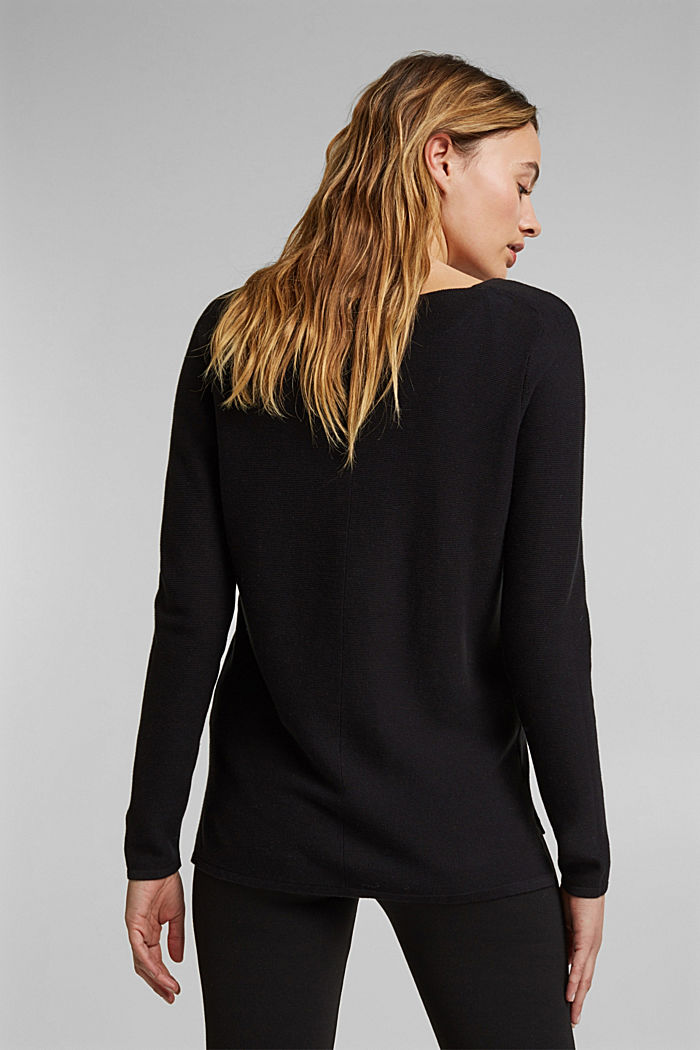 V-neck jumper made of organic cotton, BLACK, detail image number 3