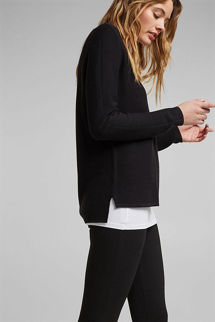V-neck jumper made of organic cotton, BLACK, detail image number 5