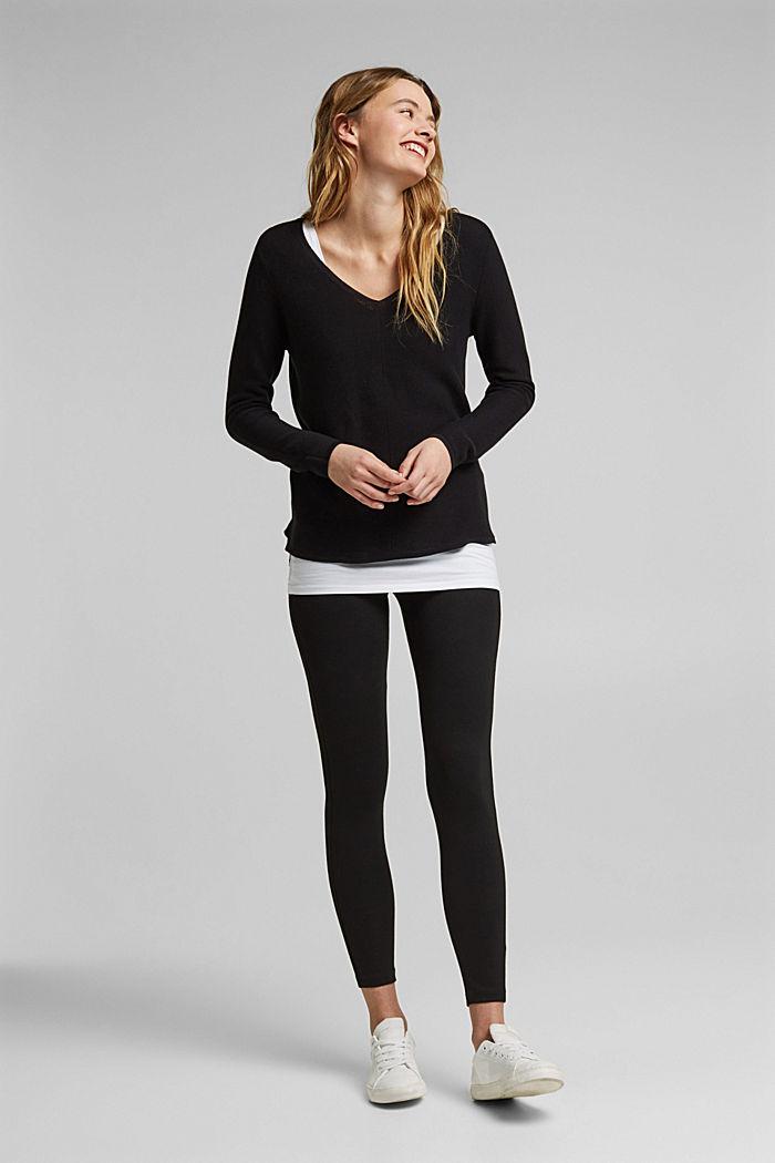 V-neck jumper made of organic cotton, BLACK, detail image number 1