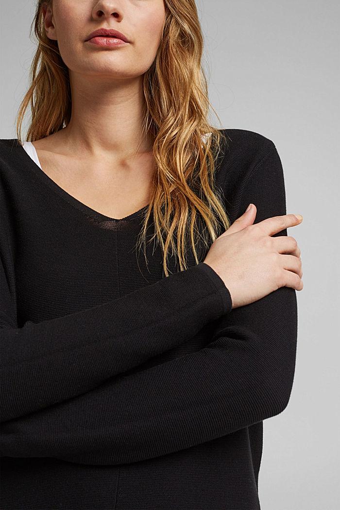 V-neck jumper made of organic cotton, BLACK, detail image number 2