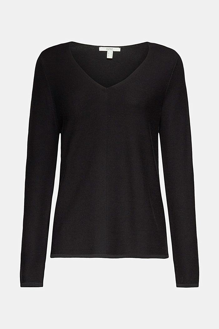 V-neck jumper made of organic cotton, BLACK, detail image number 6