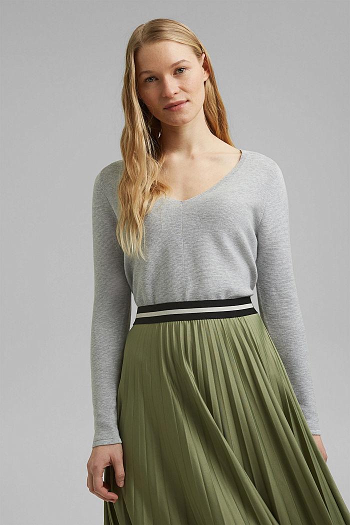 V-neck jumper made of organic cotton, LIGHT GREY, detail image number 0
