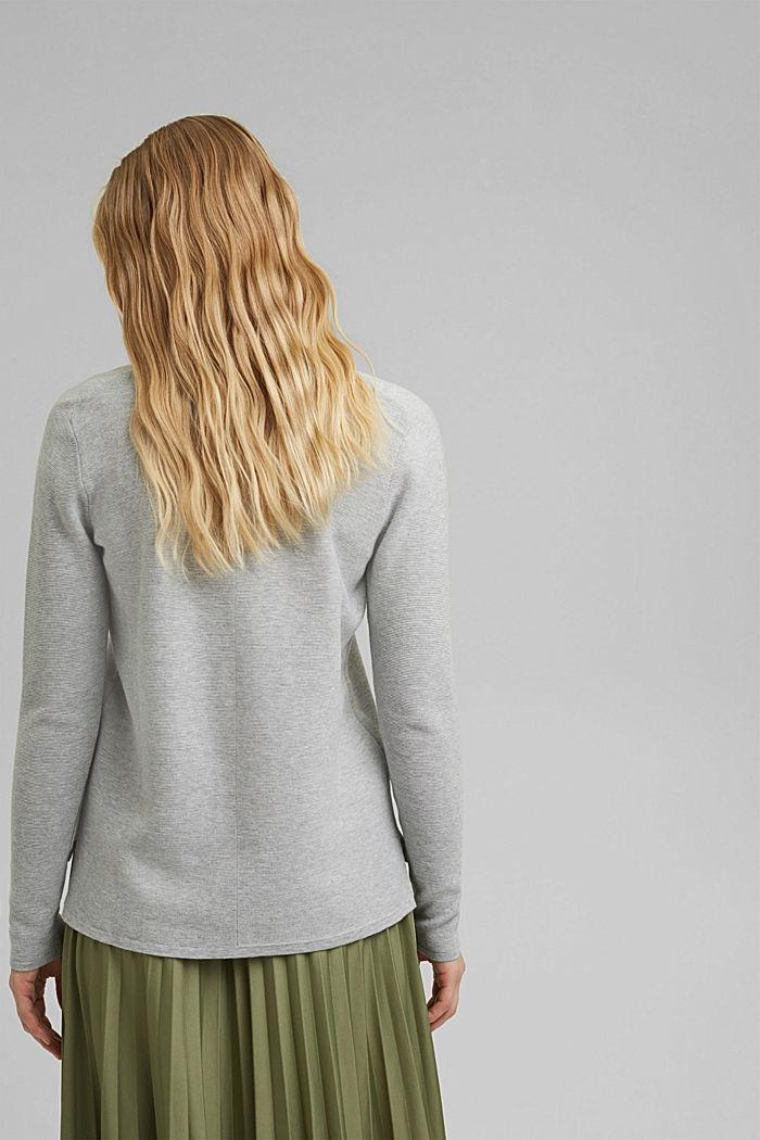 V-neck jumper made of organic cotton, LIGHT GREY, detail image number 3