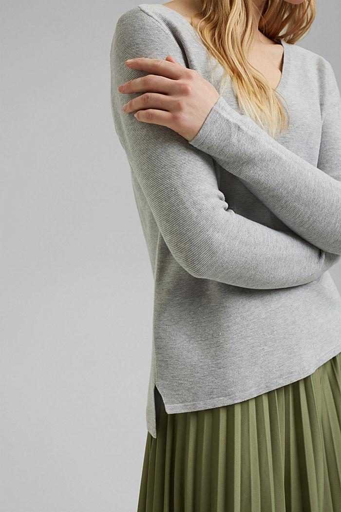 V-neck jumper made of organic cotton, LIGHT GREY, detail image number 2