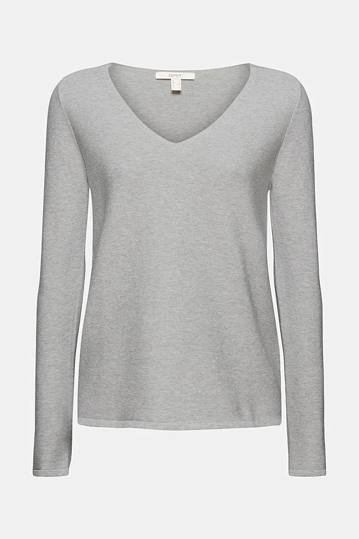 V-neck jumper made of organic cotton, LIGHT GREY, detail image number 7