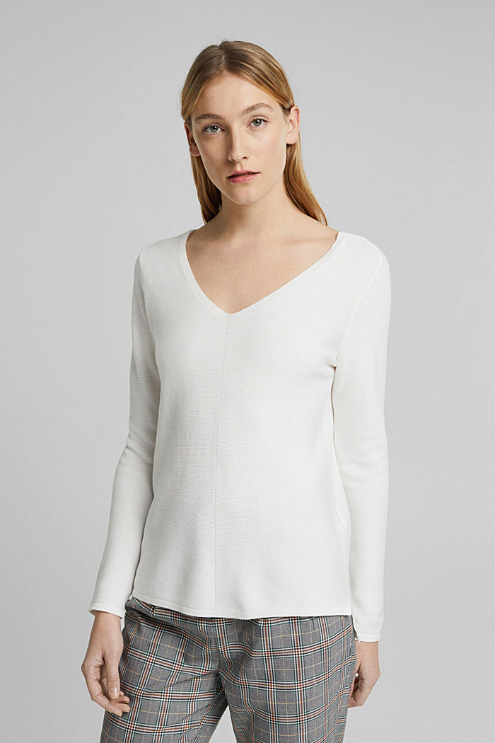 V-neck jumper made of organic cotton, OFF WHITE, detail image number 0