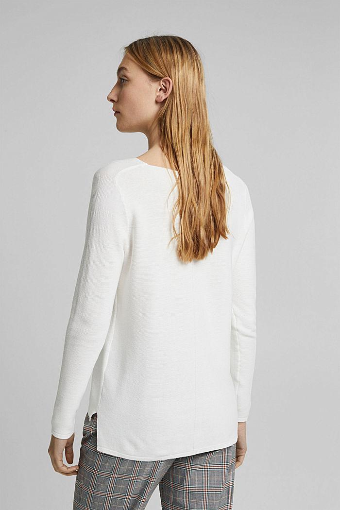 V-neck jumper made of organic cotton, OFF WHITE, detail image number 3