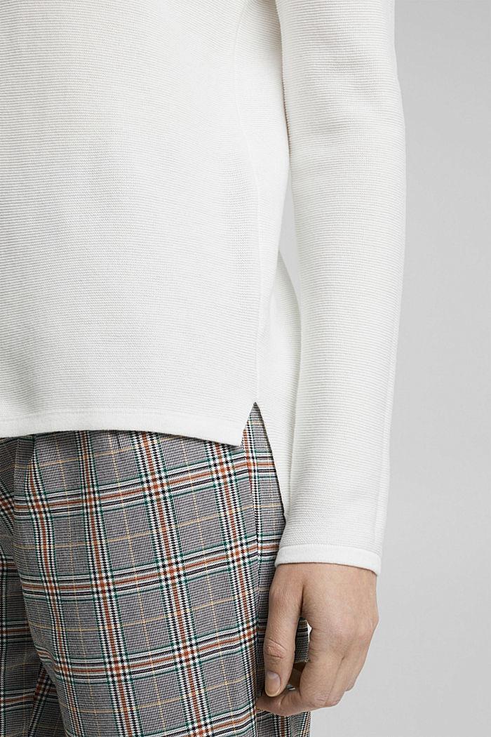V-neck jumper made of organic cotton, OFF WHITE, detail image number 4