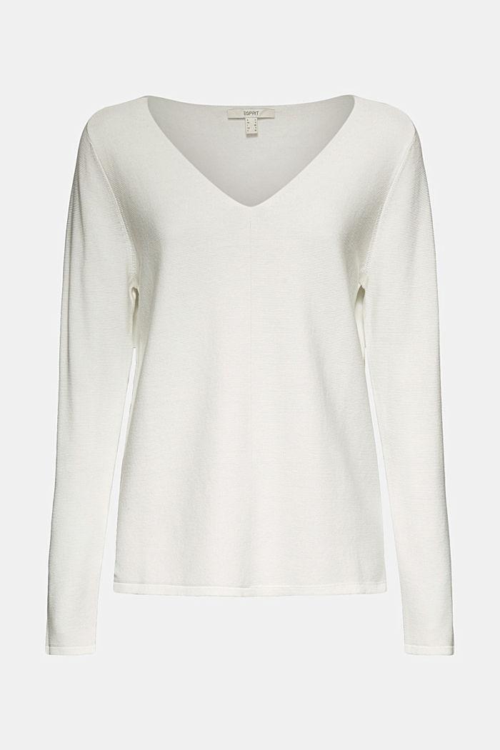 V-neck jumper made of organic cotton, OFF WHITE, detail image number 5