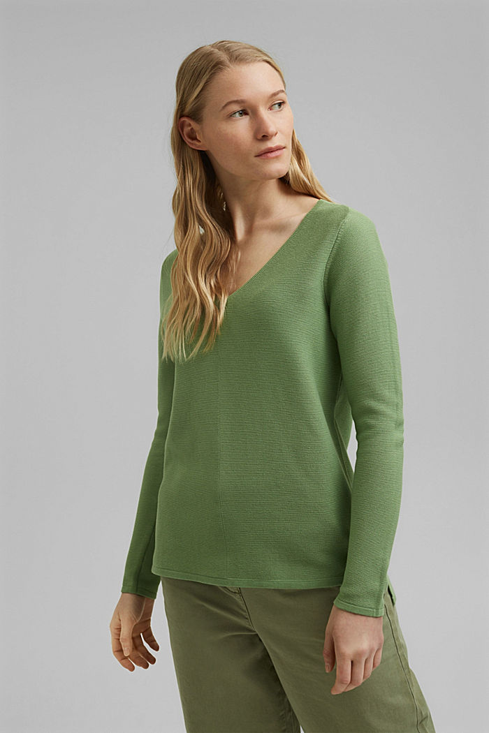 V-neck jumper made of organic cotton, LEAF GREEN, detail image number 0
