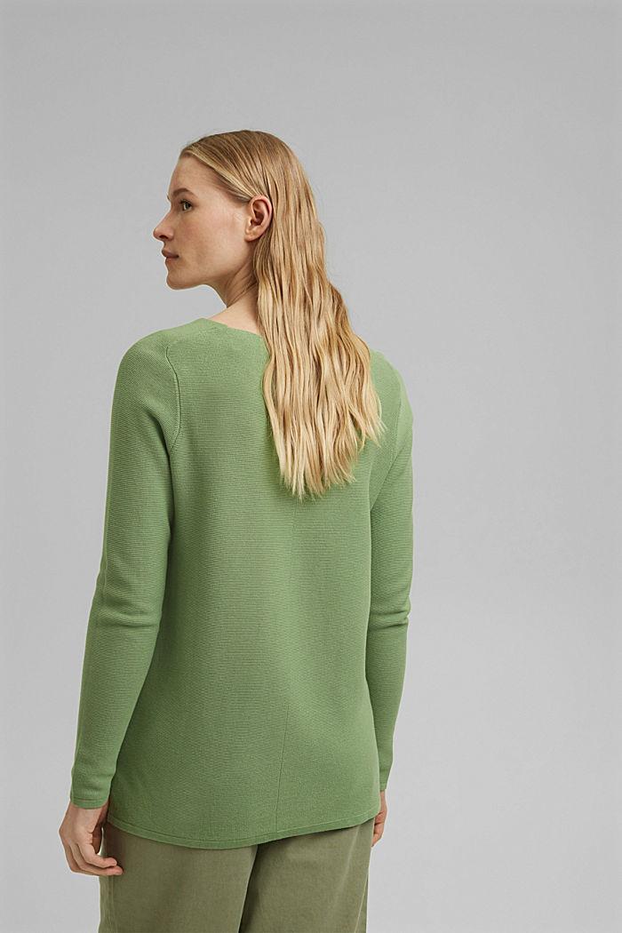 V-neck jumper made of organic cotton, LEAF GREEN, detail image number 3