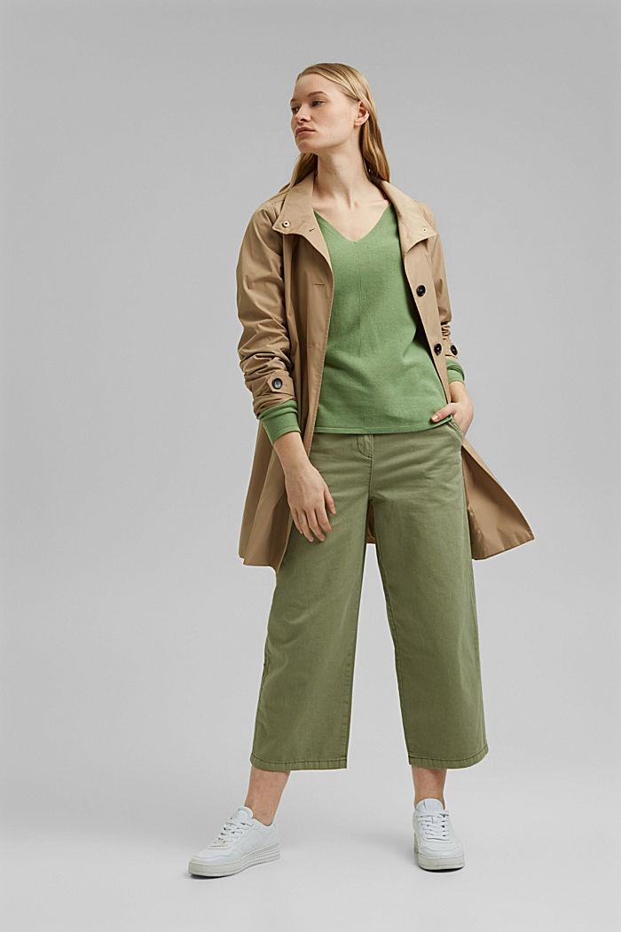 V-Neck-Pullover aus Organic Cotton, LEAF GREEN, detail image number 1
