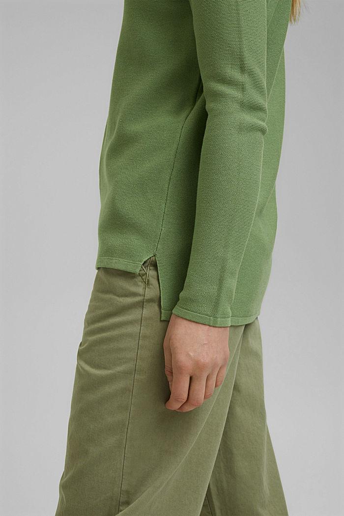 V-neck jumper made of organic cotton, LEAF GREEN, detail image number 2