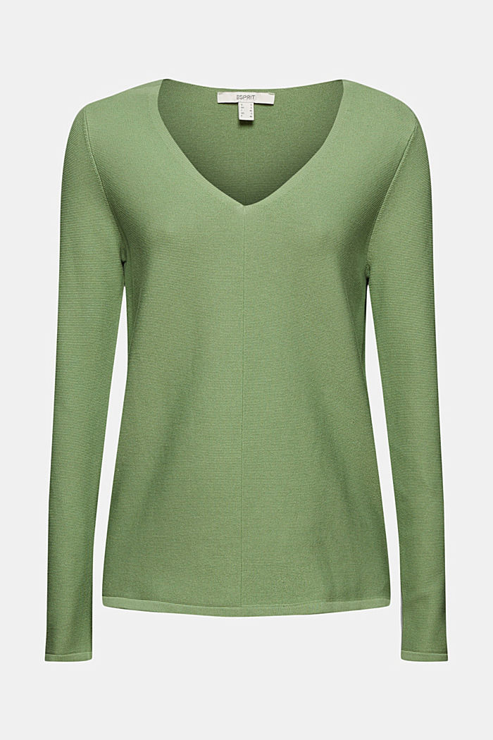V-Neck-Pullover aus Organic Cotton, LEAF GREEN, detail image number 7