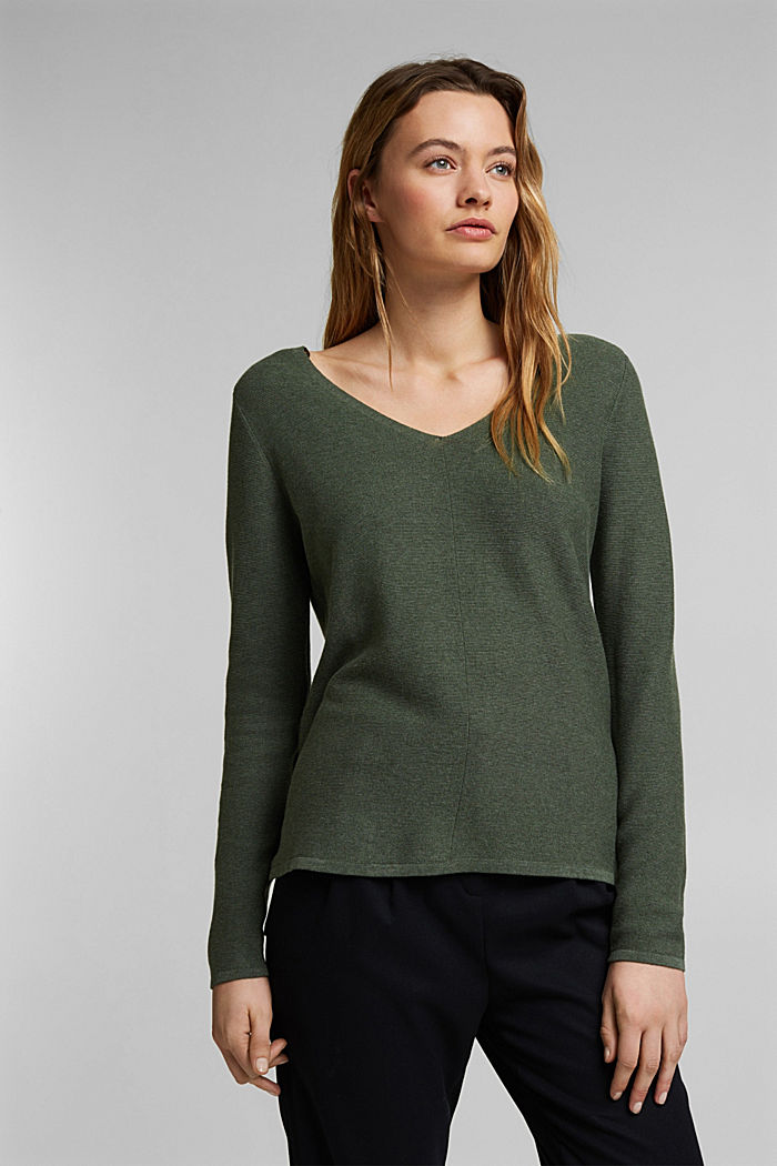 V-neck jumper made of organic cotton, KHAKI GREEN, detail image number 0