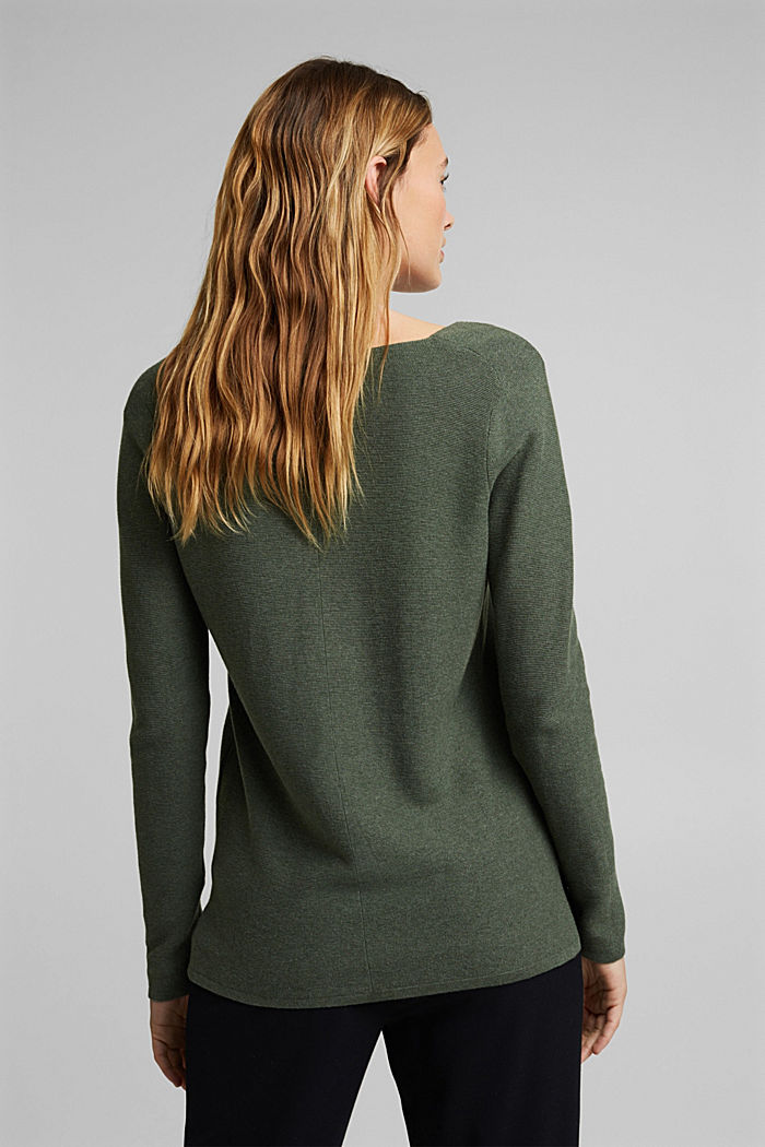 V-neck jumper made of organic cotton, KHAKI GREEN, detail image number 3