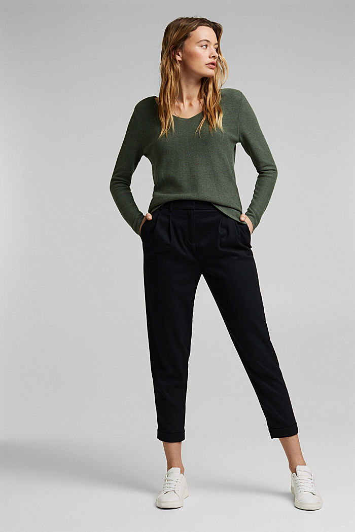 V-neck jumper made of organic cotton, KHAKI GREEN, detail image number 1