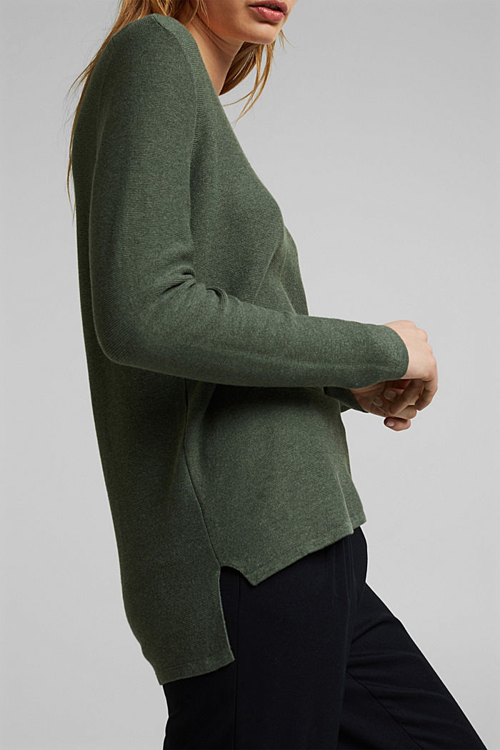 V-neck jumper made of organic cotton, KHAKI GREEN, detail image number 2