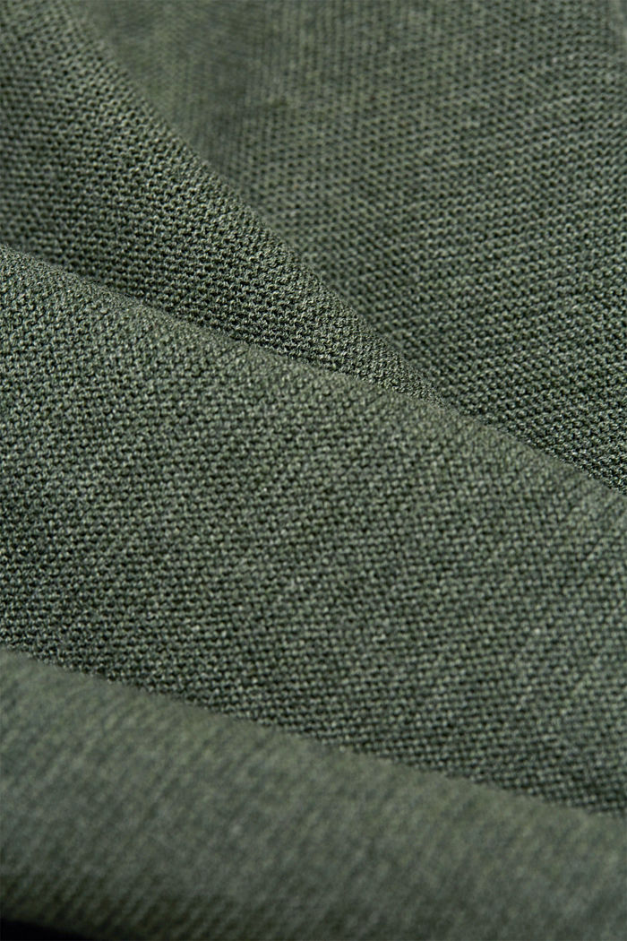 V-neck jumper made of organic cotton, KHAKI GREEN, detail image number 4
