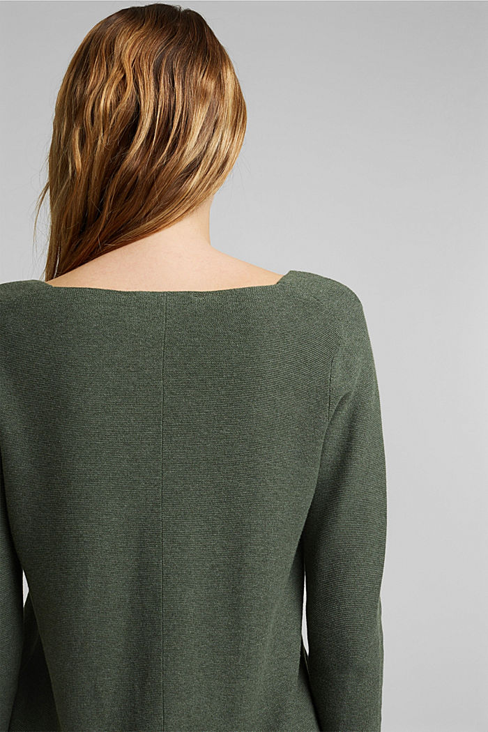 V-neck jumper made of organic cotton, KHAKI GREEN, detail image number 5