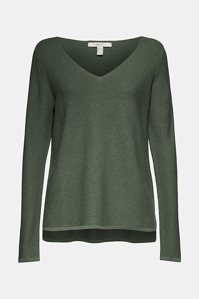V-neck jumper made of organic cotton, KHAKI GREEN, detail image number 6