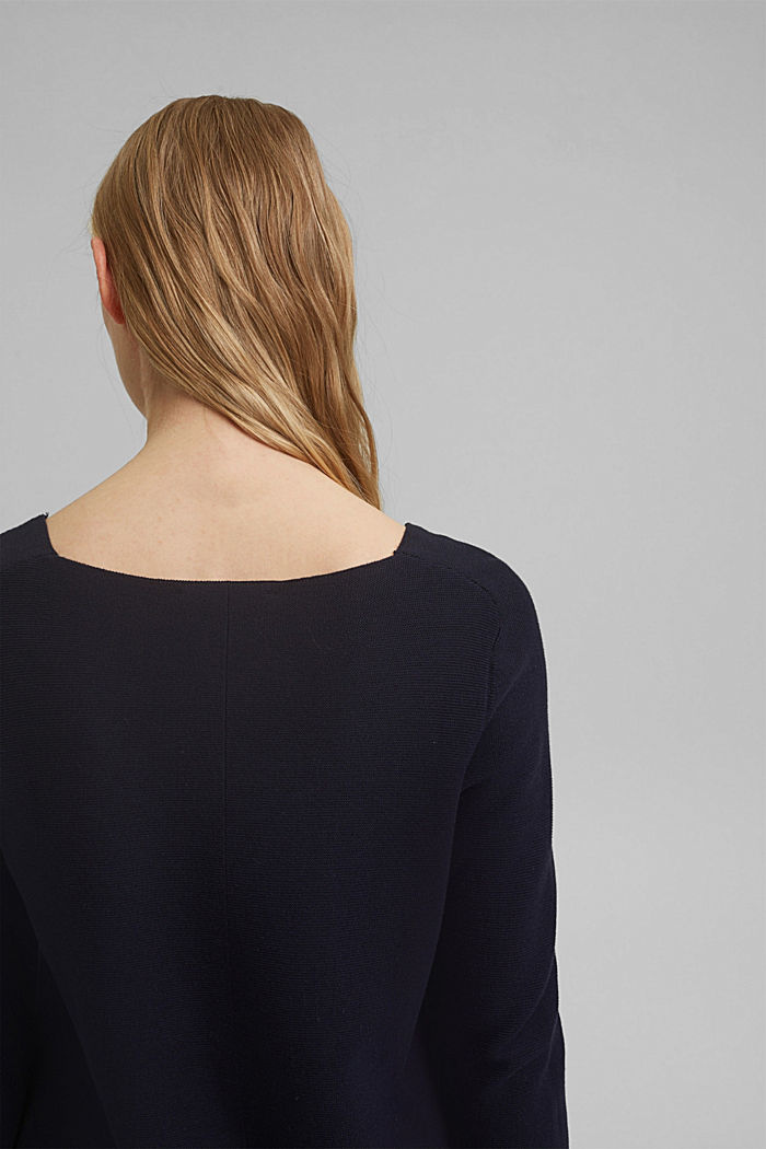V-neck jumper made of organic cotton, NAVY, detail image number 2