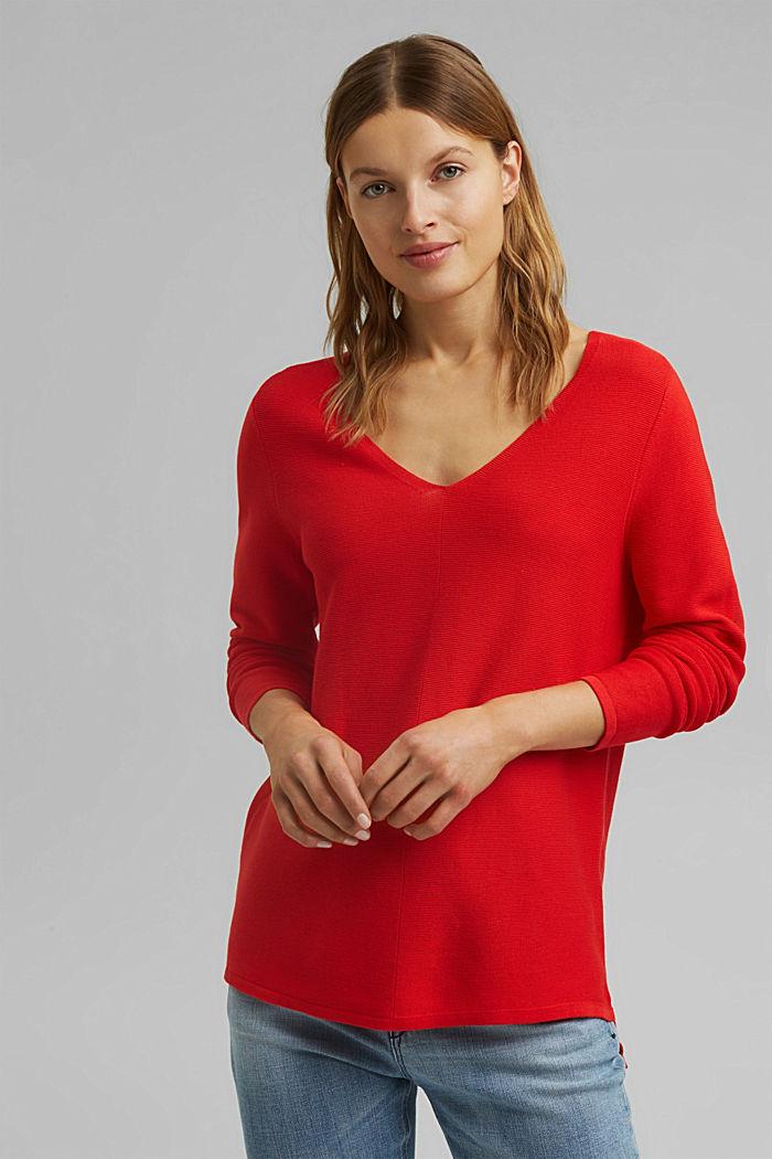 Jersey con cuello en pico de algodón ecológico, RED, detail image number 0