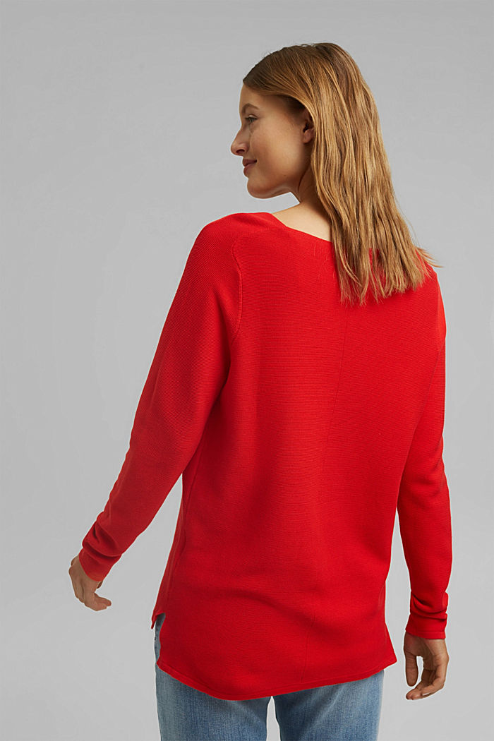 Jersey con cuello en pico de algodón ecológico, RED, detail image number 3
