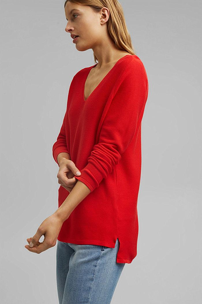 Jersey con cuello en pico de algodón ecológico, RED, detail image number 5