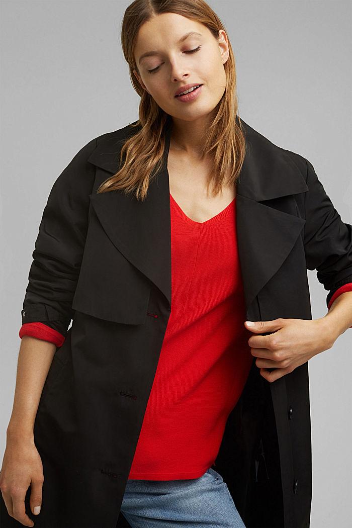 Jersey con cuello en pico de algodón ecológico, RED, detail image number 6