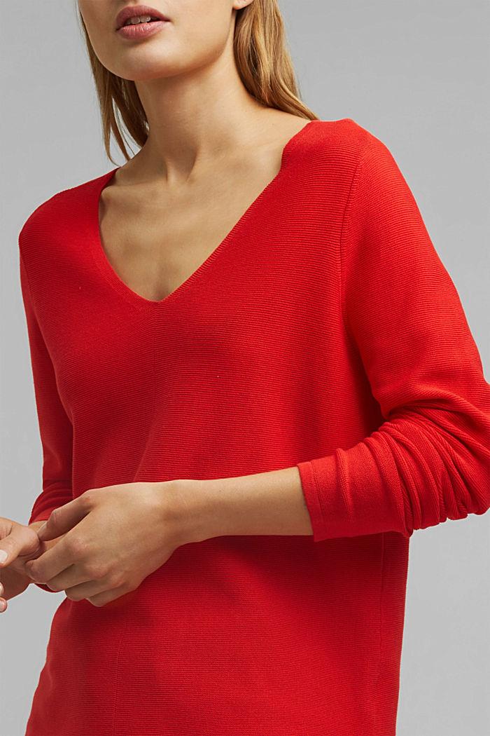 Jersey con cuello en pico de algodón ecológico, RED, detail image number 2