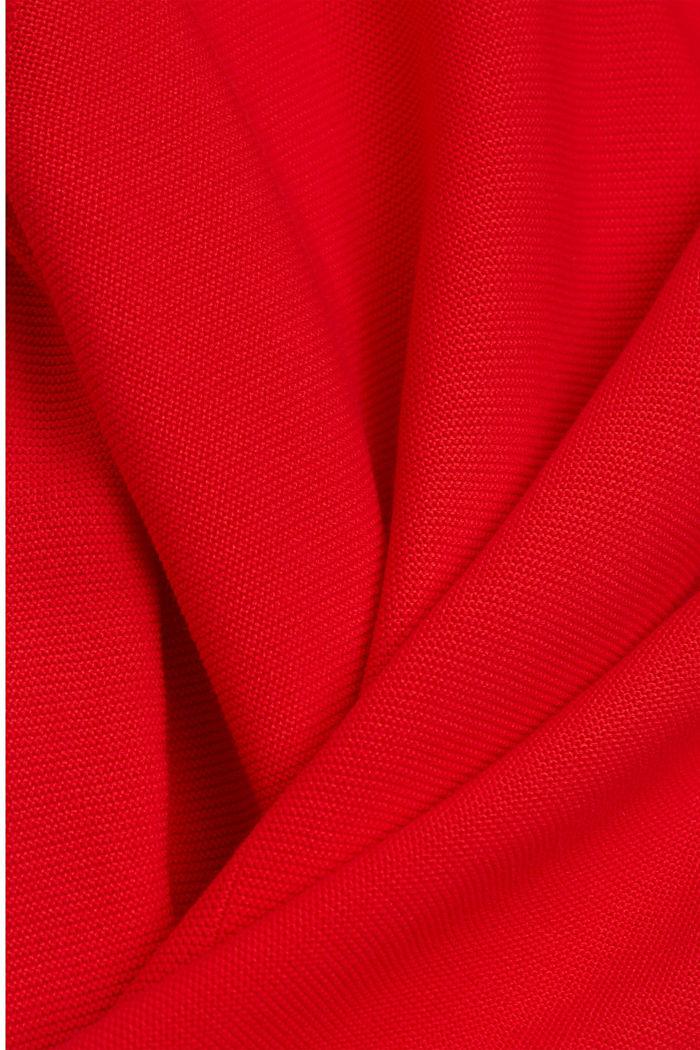 Jersey con cuello en pico de algodón ecológico, RED, detail image number 4