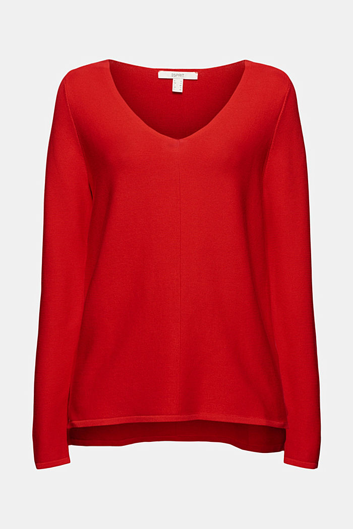 V-neck jumper made of organic cotton, RED, overview