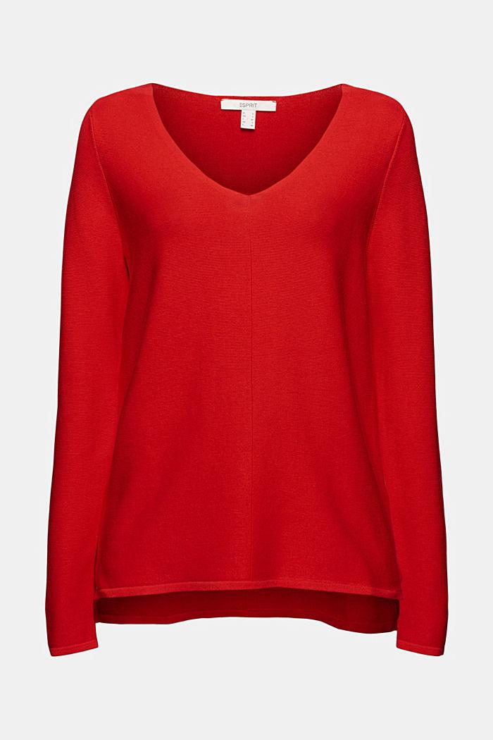 Jersey con cuello en pico de algodón ecológico, RED, detail image number 7
