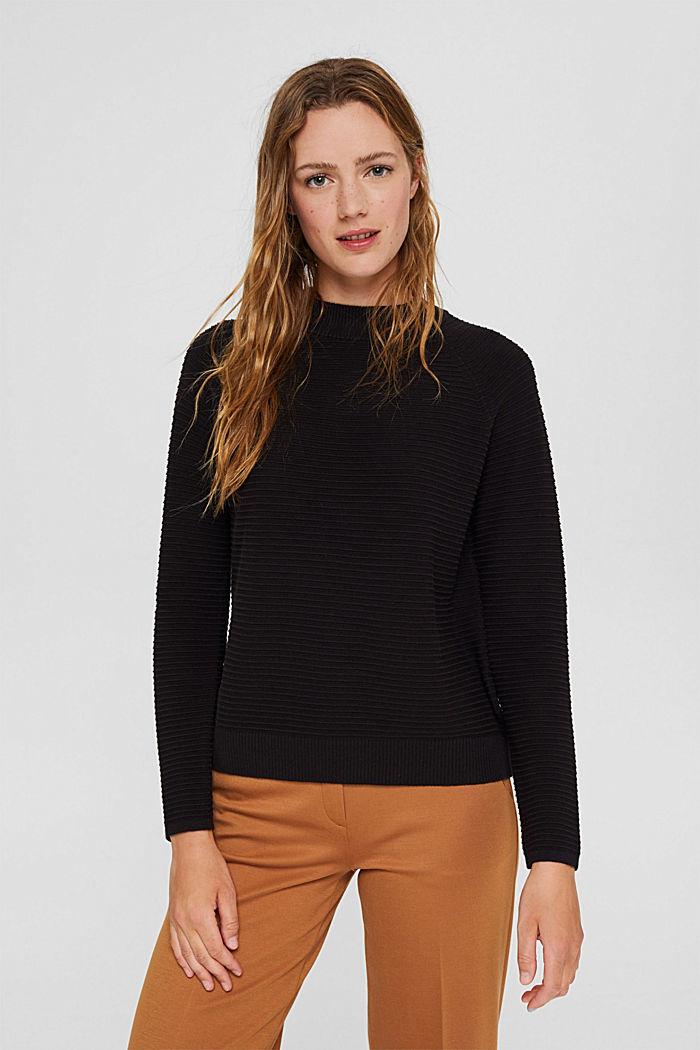 Jersey con textura acanalada, algodón ecológico, BLACK, detail image number 0