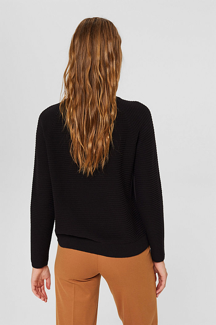 Jersey con textura acanalada, algodón ecológico, BLACK, detail image number 3