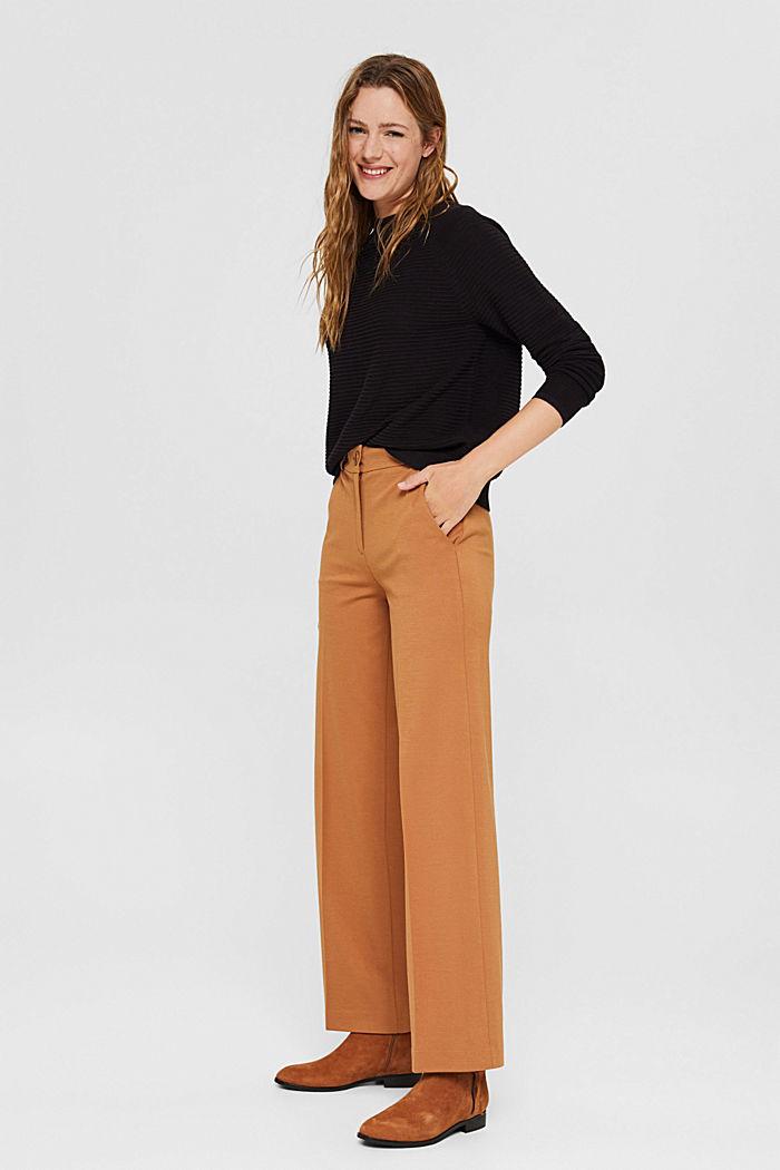 Jersey con textura acanalada, algodón ecológico, BLACK, detail image number 1