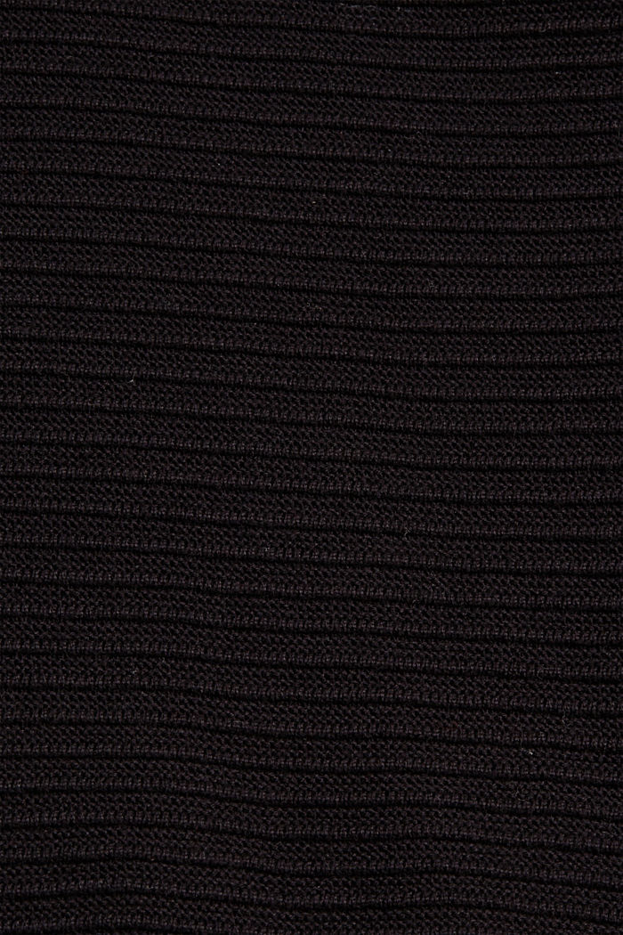 Jersey con textura acanalada, algodón ecológico, BLACK, detail image number 4