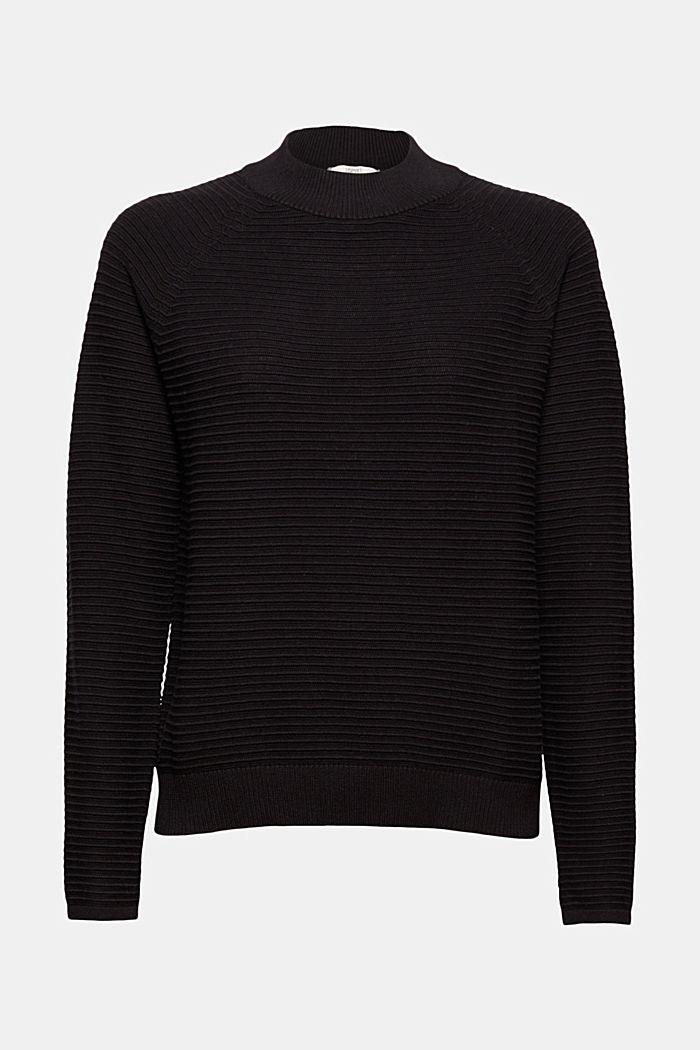 Jersey con textura acanalada, algodón ecológico, BLACK, detail image number 6