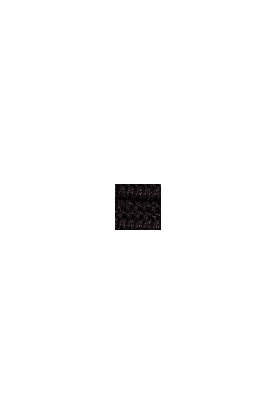 Pullover med ribstruktur, økologisk bomuld, BLACK, swatch