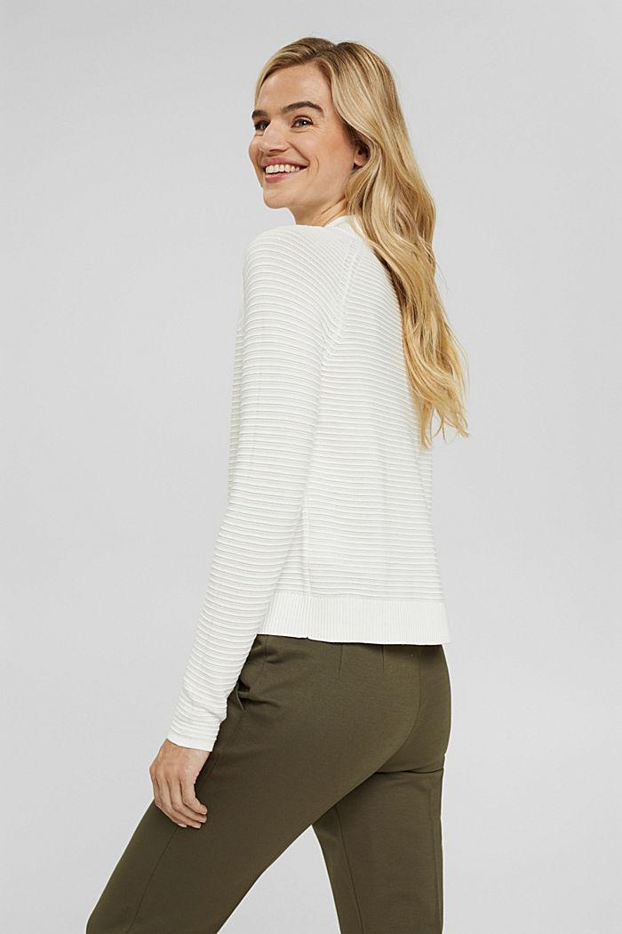 Pullover mit Rippen-Struktur, Bio-Baumwolle, OFF WHITE, detail image number 3