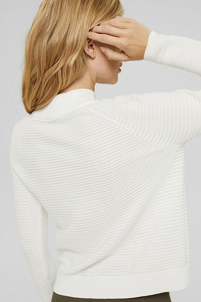 Pullover mit Rippen-Struktur, Bio-Baumwolle, OFF WHITE, detail image number 2