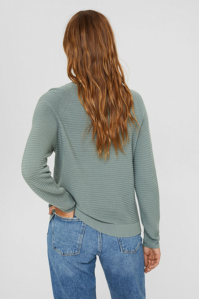 Jumper with a ribbed texture, organic cotton, DUSTY GREEN, detail image number 3