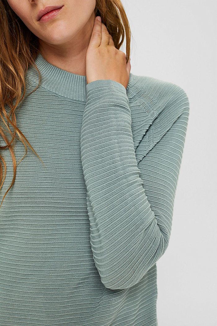 Jumper with a ribbed texture, organic cotton, DUSTY GREEN, detail image number 2